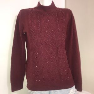 Tradition Maroon Beaded Quilted Mock Neck Sweater